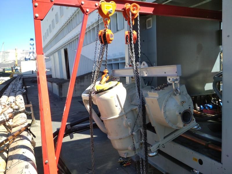 Замена и последующий ремонт снятого компрессора чиллера